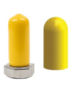 High temp vinyl caps mask threaded and non-threaded studs and tubes in applications like plating, e-coating, and wet paint